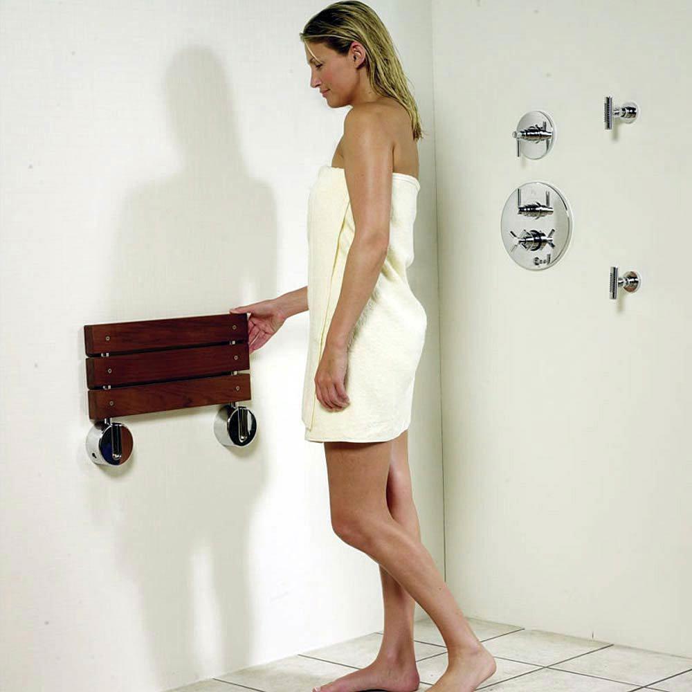 Hudson Reed Luxury Shower Seat with Chrome Hinges - LA371 Profile Large Image