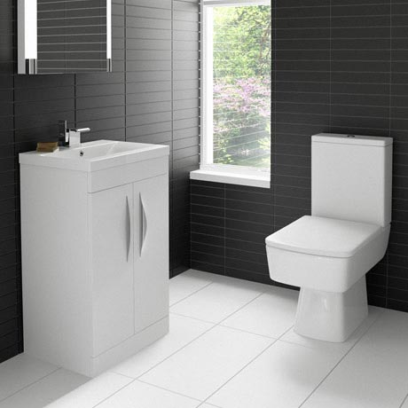 Hudson Reed Memoir Compact Gloss White Bathroom Suite