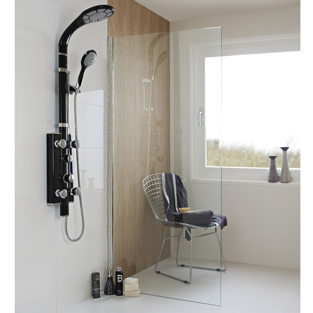 Hudson Reed - Prophecy II Black Thermostatic Shower Panel - A3705 Profile Large Image