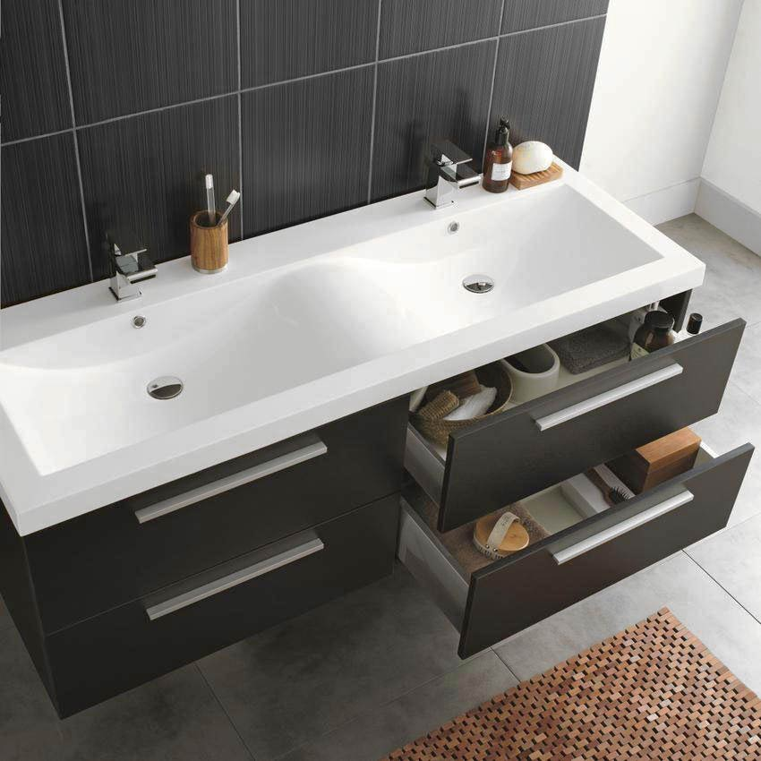 Hudson Reed Quartet Double Basin Vanity Unit - Gloss Black (1440mm Wide) profile large image view 2