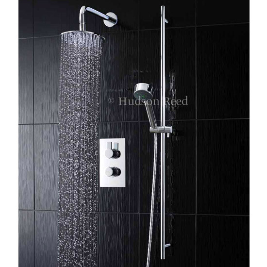 Hudson Reed Rapid Concealed Thermostatic Shower Valve w Diverter, Slider Rail Kit & Fixed Round Head