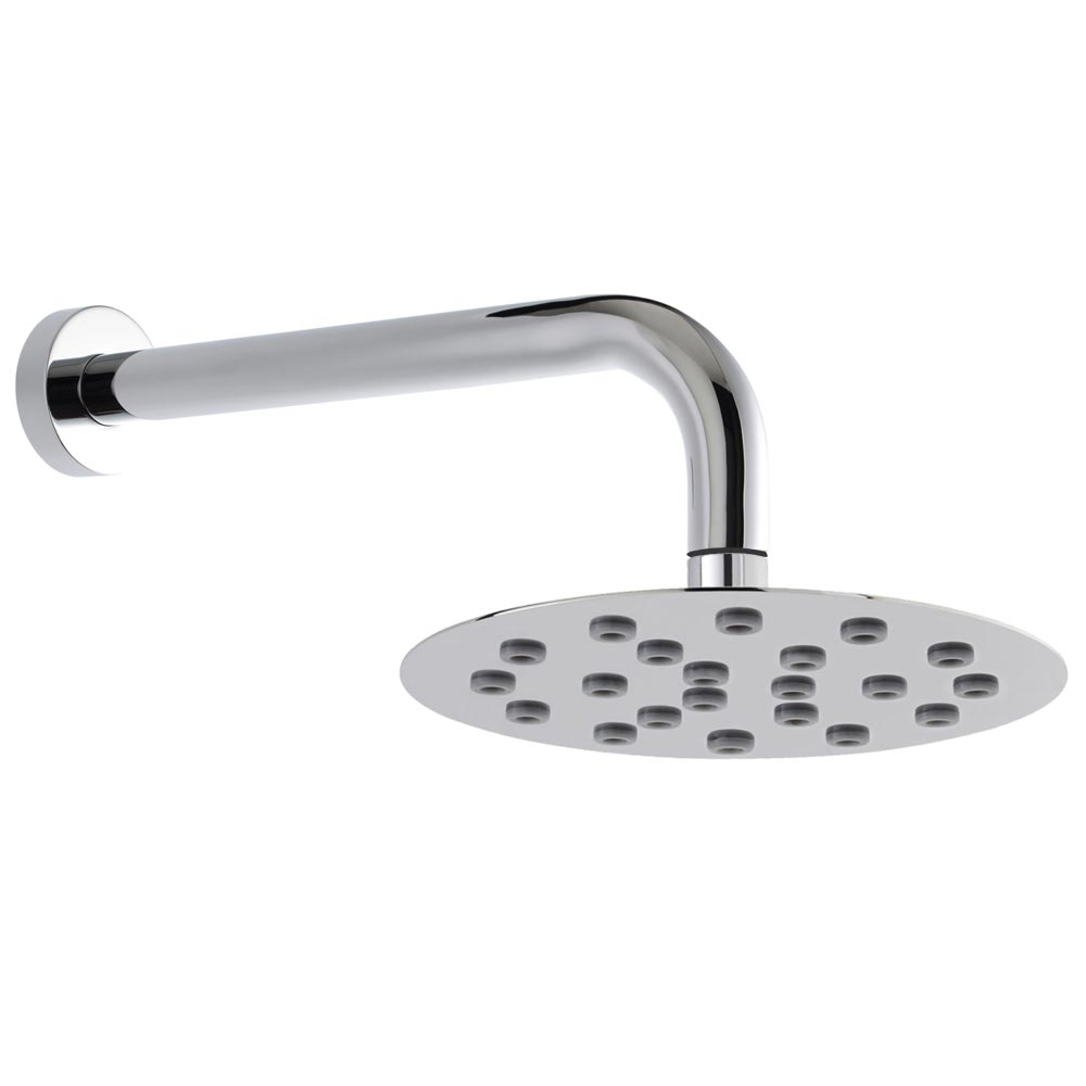Hudson Reed Round 200mm Slim Shower Head + Fast Fix Arm profile large image view 1