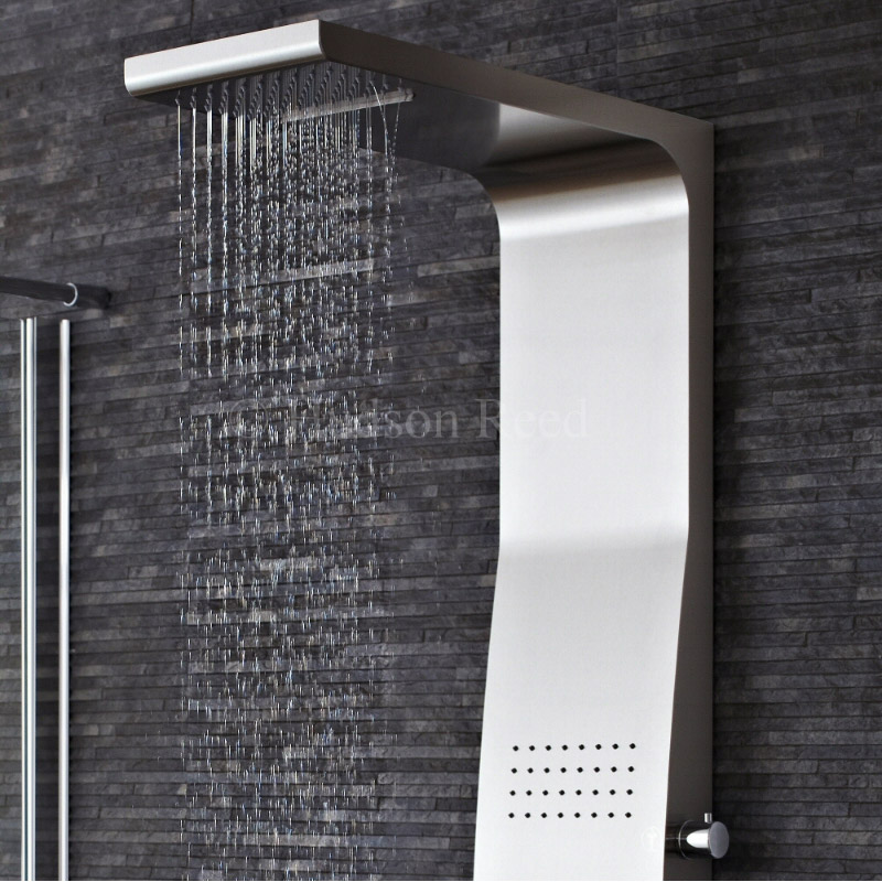 Hudson Reed - Surface Curve Stainless Steel Thermostatic Shower Panel - AS342 profile large image view 2