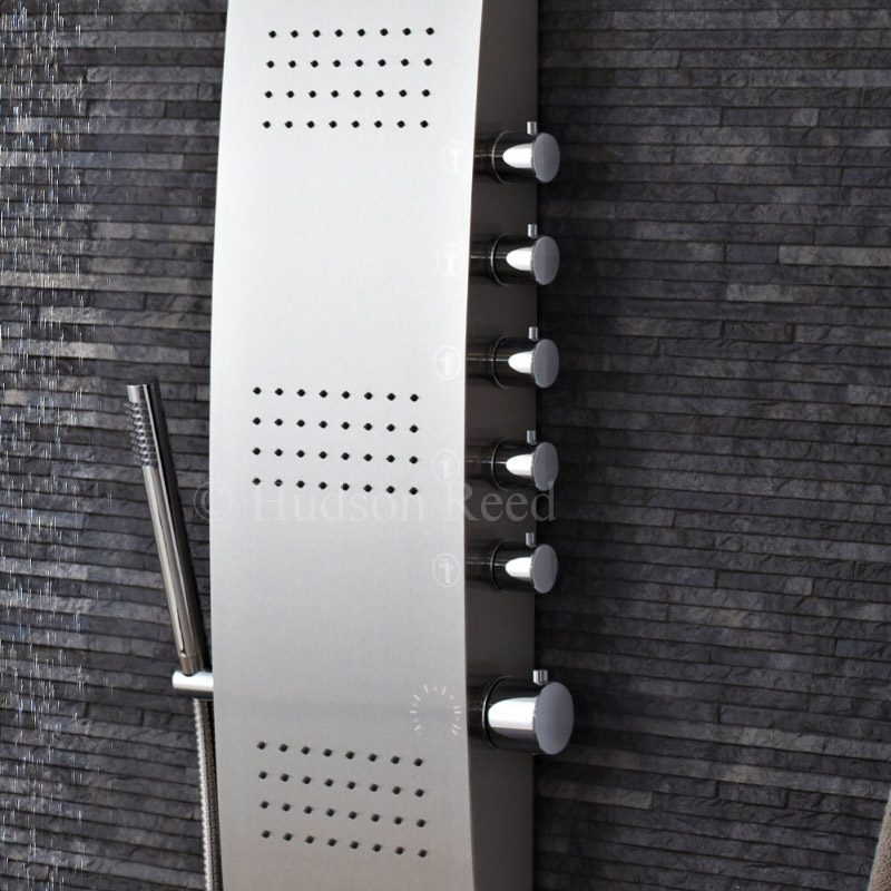 Hudson Reed - Surface Curve Stainless Steel Thermostatic Shower Panel - AS342 profile large image view 3