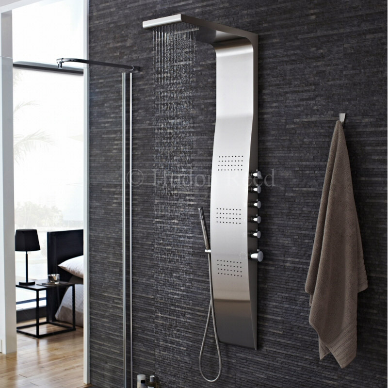 Hudson Reed - Surface Curve Stainless Steel Thermostatic Shower Panel - AS342 profile large image view 4