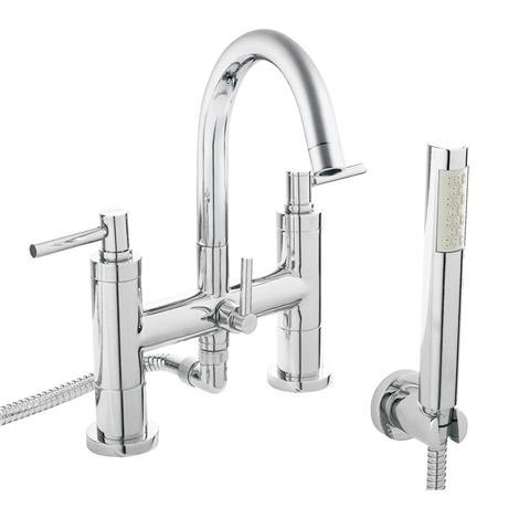 Hudson Reed - Tec Lever Bath Shower Mixer with swivel spout, shower kit & wall bracket - TEL354