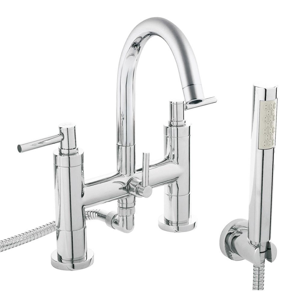 Hudson Reed - Tec Lever Bath Shower Mixer with swivel spout, shower kit & wall bracket - TEL354 profile large image view 1