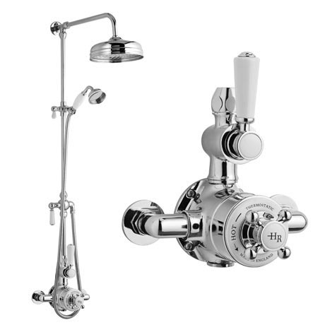 "Hudson Reed Topaz Exposed Valve Inc. Rigid Riser Kit, Diverter, 8"" Shower Rose & Handset"