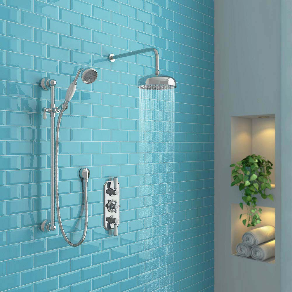 Hudson Reed Topaz Triple Concealed Thermostatic Shower Valve - TSVT003 profile large image view 2