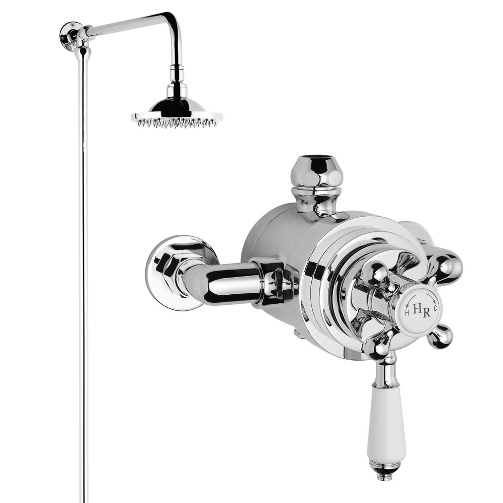 Hudson Reed Traditional Dual Exposed Thermostatic Shower Valve + Rigid Riser Kit Large Image