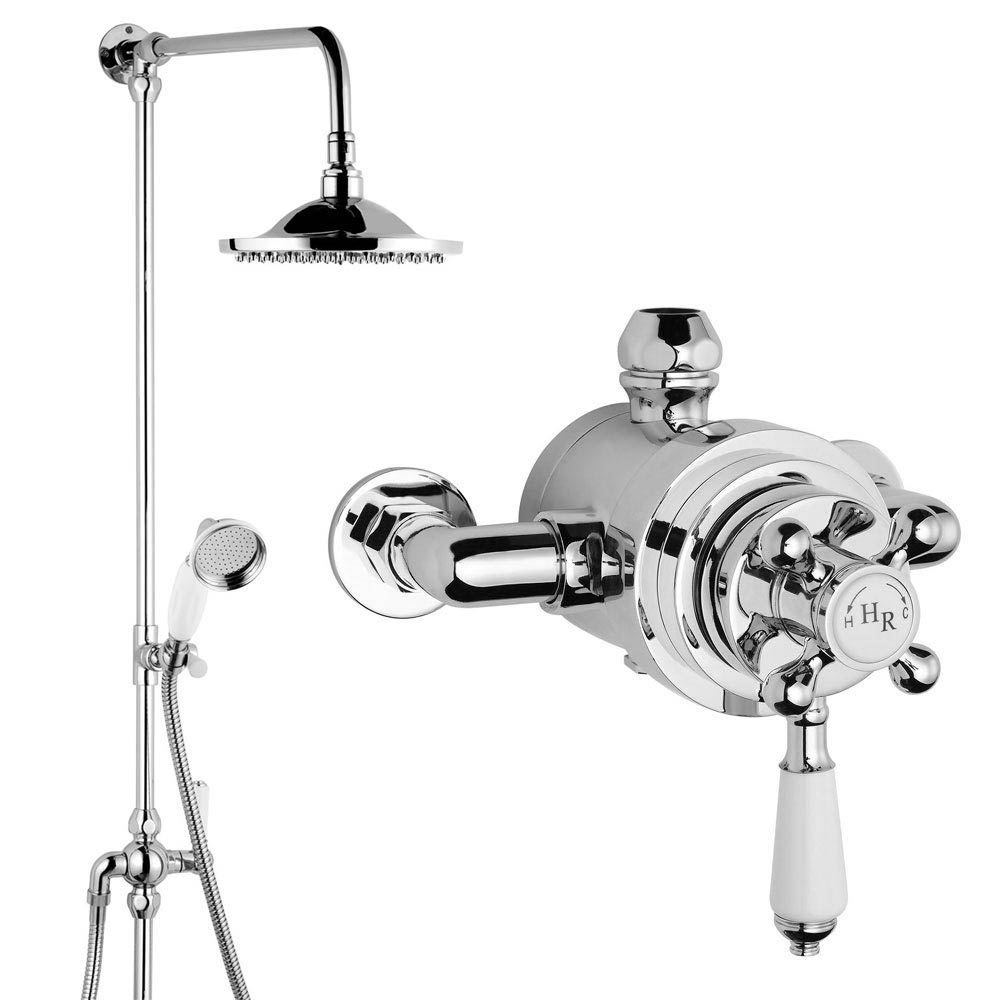 Hudson Reed Traditional Exposed Dual Shower Valve Inc. Grand Rigid Riser - Chrome Large Image