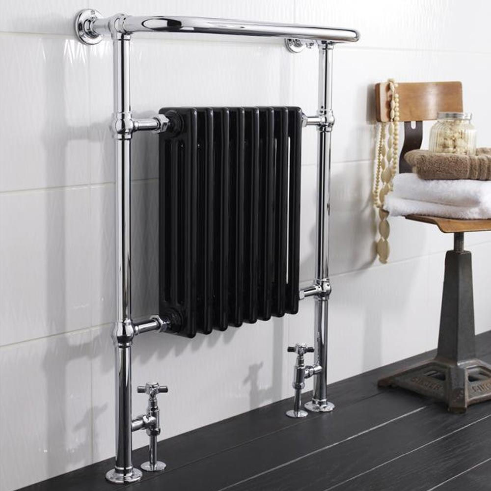 Hudson Reed Traditional Marquis Heated Towel Rail - Black - HT702 profile large image view 2