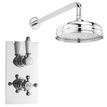 "Hudson Reed Traditional Twin Concealed Thermostatic Shower Valve + 8"" Fixed Head Medium Image"
