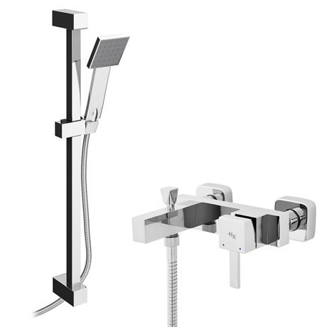 Hudson Reed Vesper Wall Mounted Bath Shower Mixer Tap + Slider Rail Kit