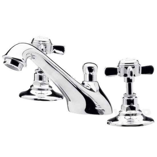 Ultra Traditional Beaumont 3 Tap Hole Deck Basin Mixer - Chrome - I307X Large Image