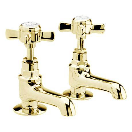 Ultra Traditional Beaumont Long Nose Basin Taps - Antique Gold - I421XE