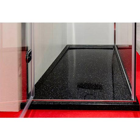 Roman - Infinity 40mm Low Profile Stone Rectangular Shower Tray - Shimmer Black - Various Size Options Standard Large Image