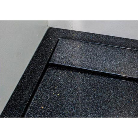 Roman - Infinity 40mm Low Profile Stone Rectangular Shower Tray - Shimmer Black - Various Size Options In Bathroom Large Image