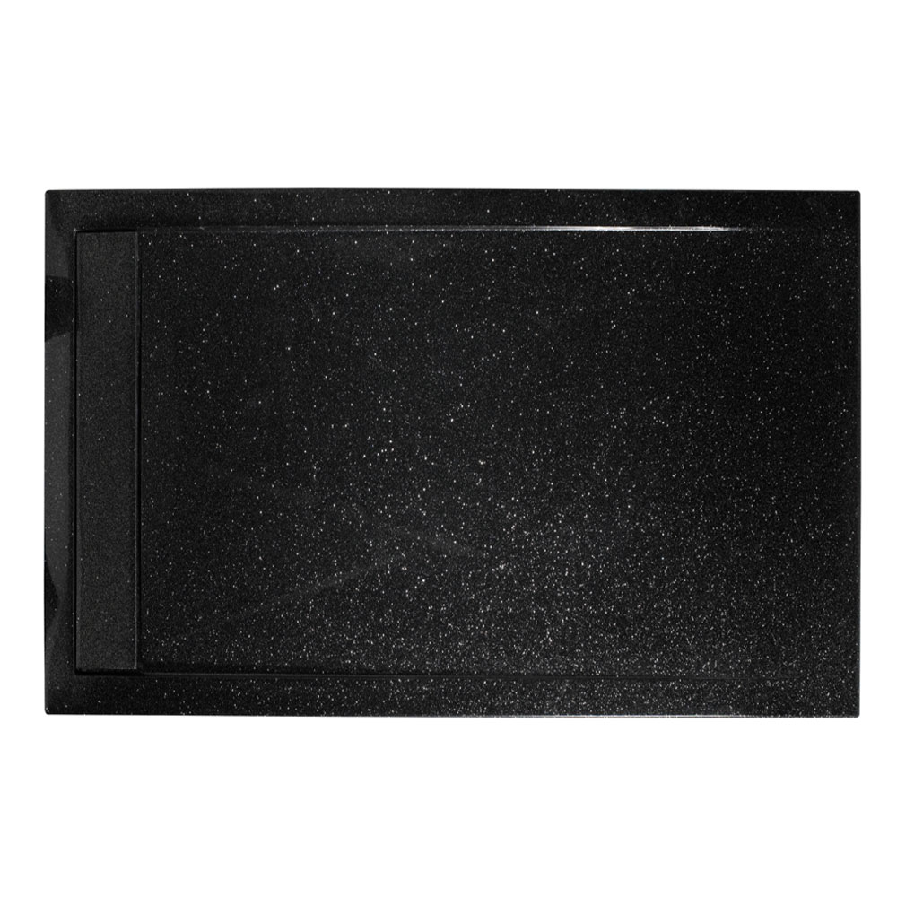 Roman - Infinity 40mm Low Profile Stone Rectangular Shower Tray - Shimmer Black - Various Size Options Large Image