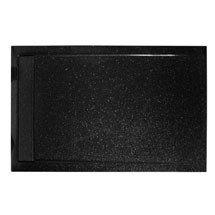 Roman - Infinity 40mm Low Profile Stone Rectangular Shower Tray - Shimmer Black - Various Size Options Medium Image