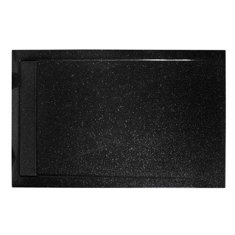 Roman - Infinity 40mm Low Profile Stone Rectangular Shower Tray - Shimmer Black - Various Size Optio