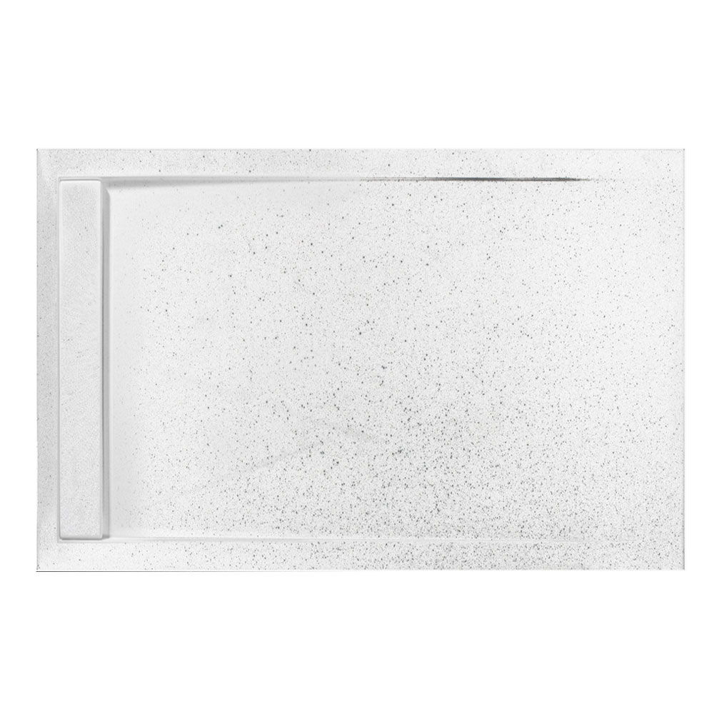Roman - Infinity 40mm Low Profile Stone Rectangular Shower Tray - Shimmer White - Various Size Optio