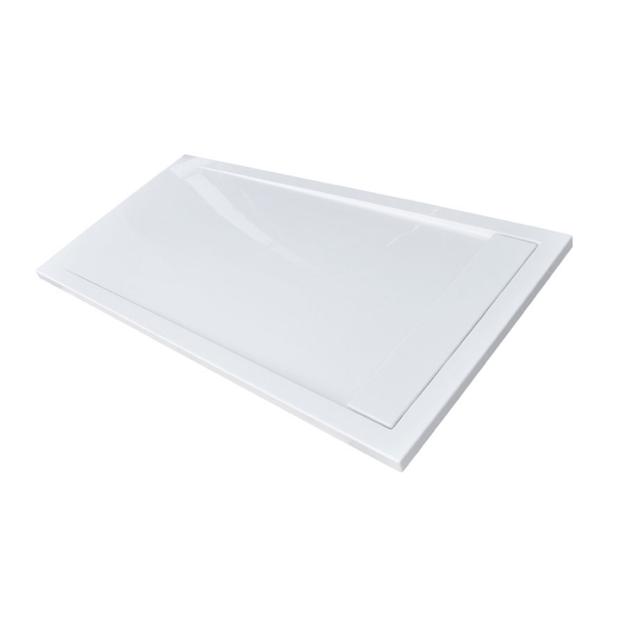 Roman - Infinity 40mm Low Profile Stone Rectangular Shower Tray - Gloss White - Various Size Options In Bathroom Large Image