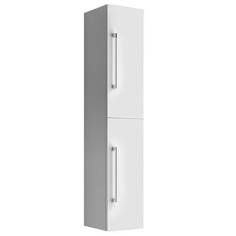 Eclipse Gloss White 2-Door Tall Wall Hung Storage Cabinet
