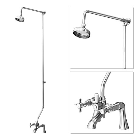 "Premier - Traditional 1/2"" Bath/Shower Mixer with Rigid Riser Kit - Chrome Plated"