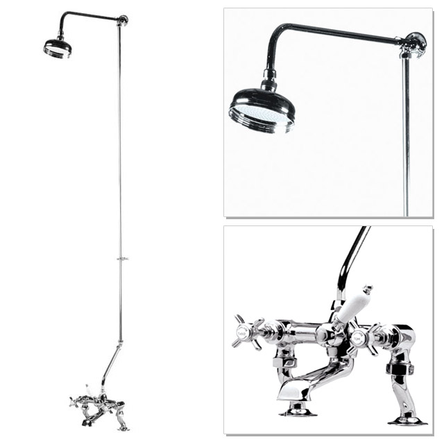 "Premier - Traditional 3/4"" Cranked Bath/Shower Mixer with Rigid Riser Kit - Chrome Plated Large Image"