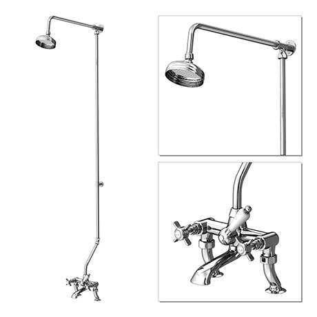 "Premier Traditional 3/4"" Cranked Bath/Shower Mixer with Rigid Riser Kit - Chrome Plated"