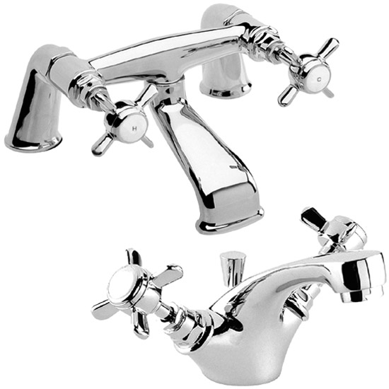 Traditional Bath Filler & Mono Basin Mixer - Chrome profile large image view 1