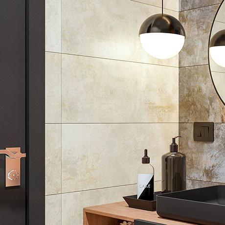 Industrial Metal Effect Wall and Floor Tiles - Beige - 300 x 600mm