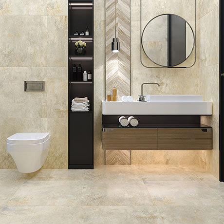 Industrial Metal Effect Floor Tiles - Beige - 600 x 600mm