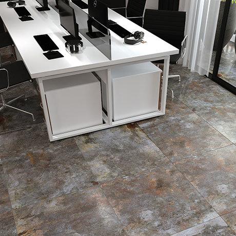 Industrial Metal Effect Floor Tiles - Grey - 600 x 600mm