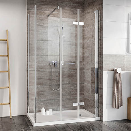 Roman Innov8 Corner Bi-Fold Shower Door with In-Line Panel