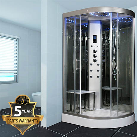Insignia INS5000 Steam Shower Cabin with Mirrored Backwalls 1200 x 800mm