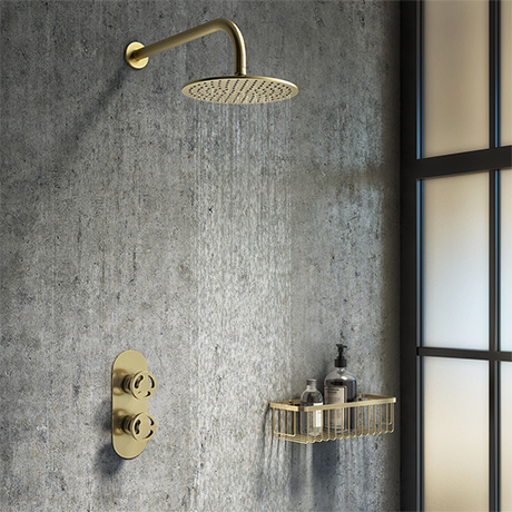 Arezzo Brushed Brass Industrial Style Shower System with Concealed Valve + Head
