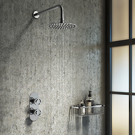Arezzo Chrome Industrial Style Shower System with Concealed Valve + Head
