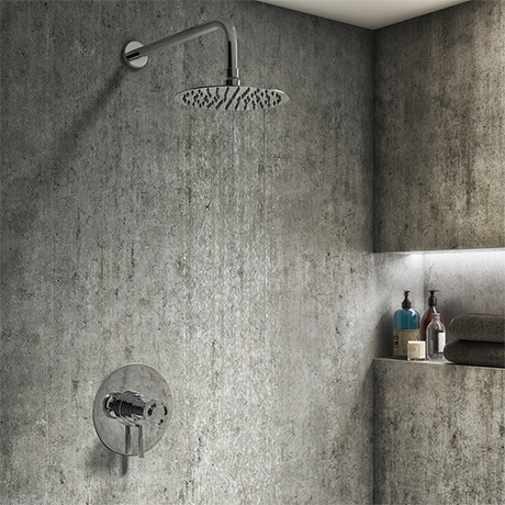 Arezzo Chrome Industrial Style Shower System with Dual Concealed Valve + Fixed Head