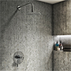 Arezzo Chrome Industrial Style Shower System with Dual Concealed Valve + Fixed Head profile small image view 1