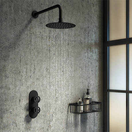 Arezzo Matt Black Industrial Style Shower System with Concealed Valve + Head