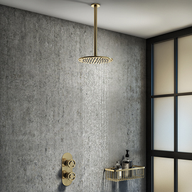 Arezzo Brushed Brass Industrial Style Shower System with Concealed Valve + Ceiling Mounted Head