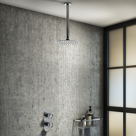 Arezzo Chrome Industrial Style Shower System with Concealed Valve + Ceiling Mounted Head