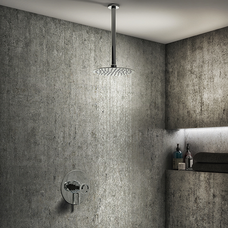 Arezzo Chrome Industrial Style Shower System with Dual Concealed Valve + Ceiling Mounted Head