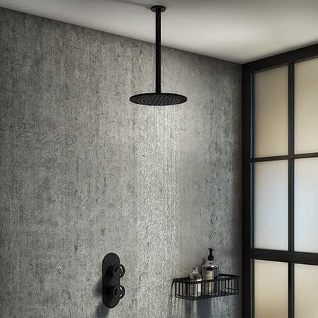 Arezzo Matt Black Industrial Style Shower System with Concealed Valve + Ceiling Mounted Head
