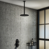 Arezzo Matt Black Industrial Style Shower System with Concealed Valve + Ceiling Mounted Head profile small image view 1