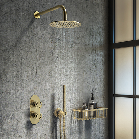 Arezzo Brushed Brass Industrial Style Shower System with Concealed Valve, Head + Handset