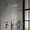 Arezzo Brushed Brass Industrial Style Shower System with Concealed Valve, Head + Handset profile small image view 1