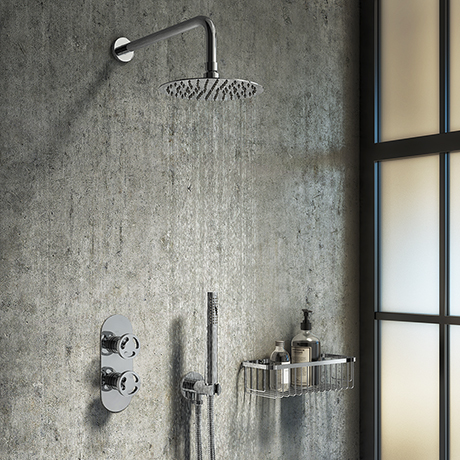 Arezzo Chrome Industrial Style Shower System with Concealed Valve, Head + Handset